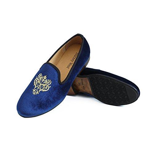 Veste en velours vintage Flâneur hommes broderie Noble Hommes Chaussures à enfiler Flâneur fumer Chaussons Noir/Rouge/Bleu Bleu - bleu