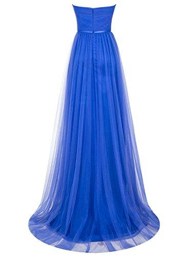Bbonlinedress Robe de cérémonie Robe de demoiselle dhonneur en tulle sans bretelles longueur ras du sol Marine