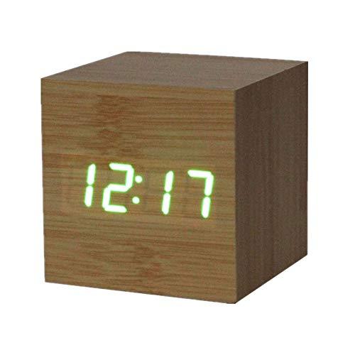 Weant Horloge Murale Aiguille Horloge 1PC Numérique LED Bambou En Bois Bois  Alarme De Bureau Brun