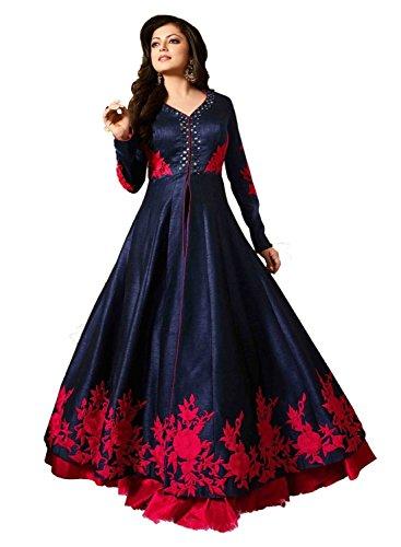BMR Women\'s Bangalori Silk Gown (Blue Gown_Free Size)