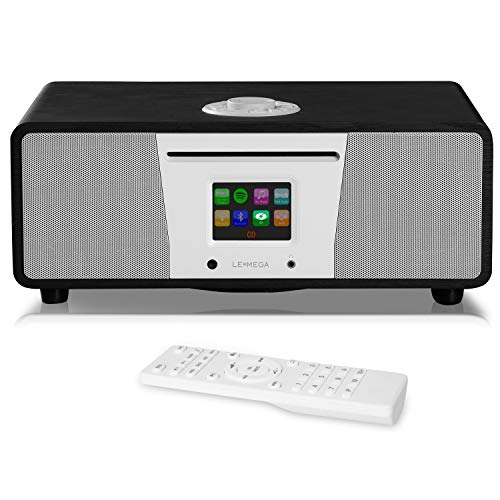 LEMEGA M4+ All-in-One Smart Music System (2.1 Stereo) with CD, Wi-Fi, Internet Radio, Spotify, Bluetooth, DLNA, DAB, DAB+, FM Radio, Clock, Alarms, Presets, and Wireless App Control - Schwarze Eiche (All In One Stereo-cd-player)