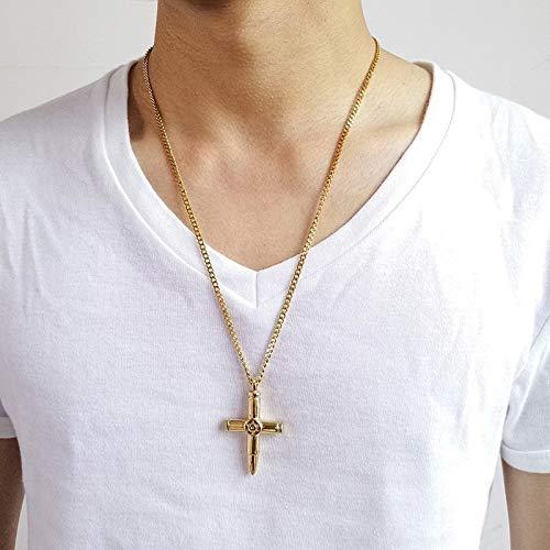 �r Herren Kugel Kreuz Anhänger Halskette Für Männer Edelstahl Herren Kreuze Kragen In Gold Ton Lucky Amulett Männlichen Schmuck Mit 24inch ()