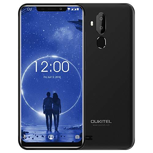 OUKITEL C12 Android 8.1 Dual-SIM Handy ohne Vertrag - 6,18 Zoll Kerbenbildschirm Smartphone, MT6580 Quad Core 2GB + 16GB Gesichtserkennung dreifache Kamera 5MP+2MP+8MP Fingerabdrucksensor GPS Schwarz