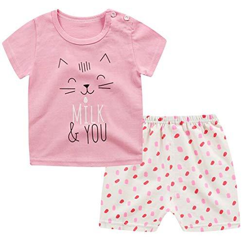 Mädchen Schlafanzug Zweiteiler (Unisex Baby Schlafanzug Zweiteiler Kinder Pyjama Kurz Sommer Bekleidung Mädchen Baumwolle Kurzarm Top und Shorts Jungen 1-4 Jahre alt)