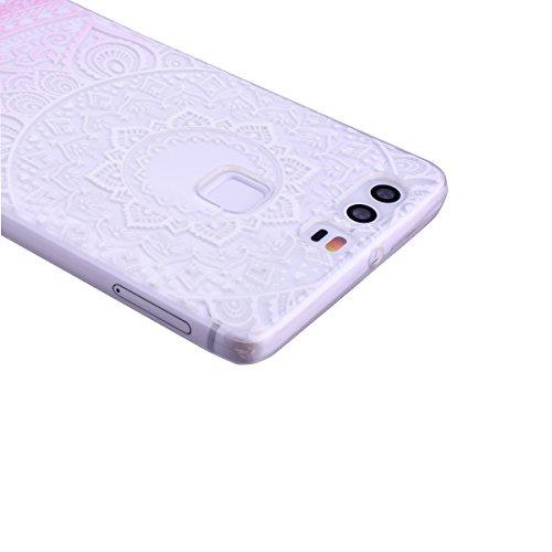 SMARTLEGEND Custodia in Silicone per Huawei P9, Gomma TPU Copertura Protettiva Soft Case, Bumper Cover Morbida Flessibile Caso Ultra Sottile Coprire Anti-graffio Cover Antiurto con Girasoli Pattern De Rosa