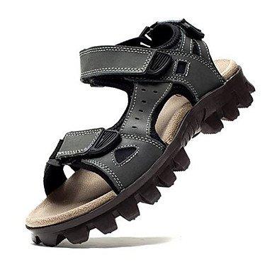 Uomini sandali estivi Casual in pelle tacco piatto altri grigio marrone altri Gray