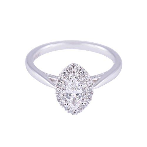 925sterling argento e zirconi taglio marquise Halo cluster anello peso totale 0.55ct, Argento, 50 (15.9), cod. NISD37_K