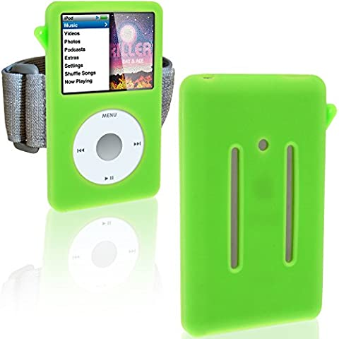 PALE GREEN Sports Armband and Silicone Skin Case Cover for