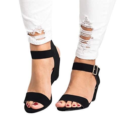 NDGDA Damen Sandalen mit Keilabsatz und Schnalle
