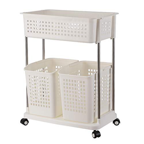 Rolling Wäscherei (MLMHLMR Wäschekorb mit Rollen Wäscherei Waschküche für die Wäscherei Organisation Rolling Wäsche Kunststoff 56X34.5X72cm Wäschekorb (Color : White, Size : Second Floor))