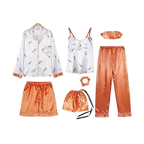 rbst 7 Stücke Set Seide Elegante Frauen Pyjamas Silk Shorts Langarm Top Elastische Taille Hosen Silk Lounge Pyjamas, Cy Ji Se, M ()