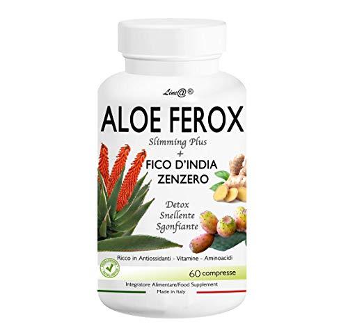 ALOE FEROX Line@ + FICO D'INDIA e ZENZERO - 60 CPR - ANTIOSSIDANTE - SNELLENTE - SGONFIANTE