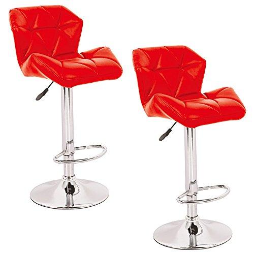 MCTECH® 2er-set Barhocker Tresenhocker Lounge drehbar und höhenverstellbar Kunst-Leder verchromter Stahl Barstuhl (B type, Rot)