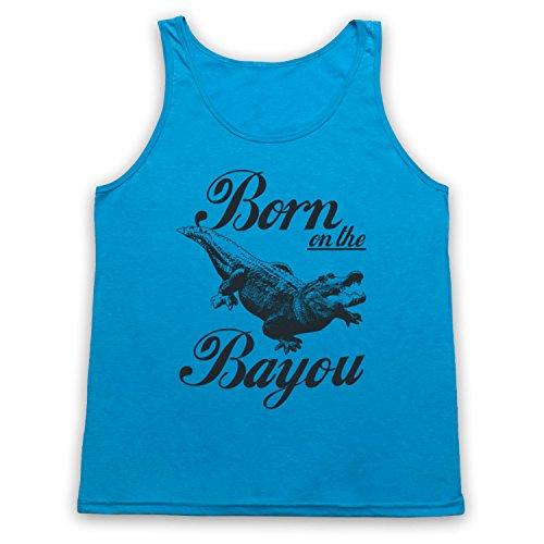My Icon Art & Clothing Born on The Bayou Alligator Tank-Top Weste, Neon Blau, XS