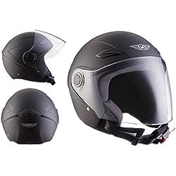 MOTO U52 Matt Black · Biker Moto motocicleta Piloto Helmet Vespa Casco Demi-Jet Cruiser Bobber Scooter Mofa Vintage Retro Urbano Urban Chopper · ECE certificado · visera incluido · incluyendo bolsa de casco · Negro · L (59-60cm)
