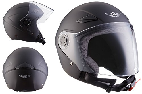 MOTO U52 Matt Black · Casco Demi-Jet Retro Urbano