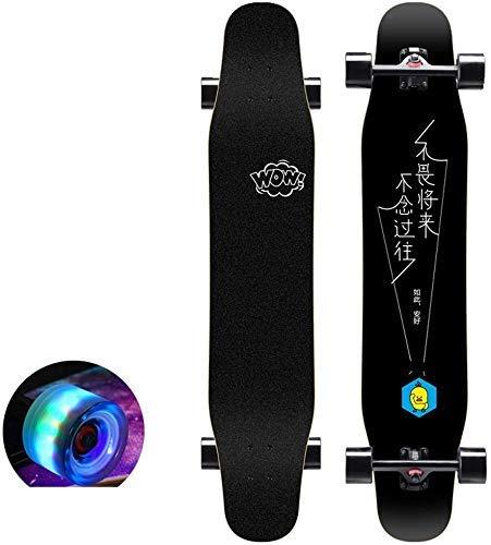 NMDD Skateboard Anfänger Pro Komplettes Skateboard 7 Lagen Ahorn Longboard Deck Erwachsene Tricks Skateboard Teen Pinsel Street Dance Board Vierrädriger Roller Mit PU-Blitzrollen (Farbe: A)