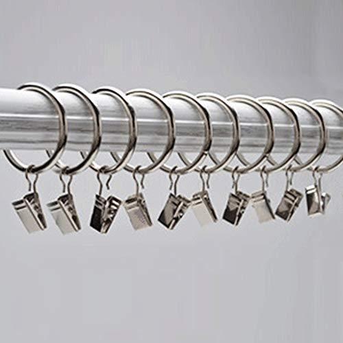Gardinenringe mit Clips, Edelstahl, für Fenster, Gardinen, Clips, Ringe zum Aufhängen, Haken für Badezimmer, Café, Fenster und Vorhänge (Silber) (Silber)