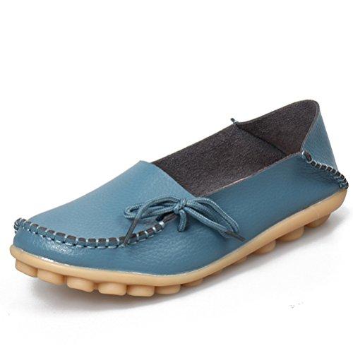 Miagolio Donna Scarpe Stringate Basse Mocassino Flats In Pelle Morbide Casuale Di Vari Colori Tglia 34-43 Azzuro
