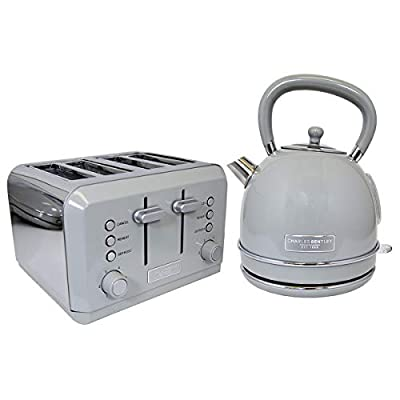 Charles Bentley Grey 3Kw 1.7 Kettle and 4 Slice Toaster Set - Made of Stainless Steel - Fully Assembled