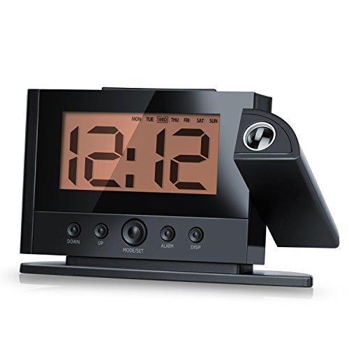 Arendo Multifunktions-Projektionswecker (Funk) inkl. Temperaturanzeige / Projection Clock | Datums-/Tagesanzeige / 12/24-Stundenanzeige | °C/°F-Anzeige | 180° drehbare Projektionsanzeige | Schlummerfunktion (