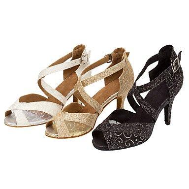 Scarpe da ballo-Personalizzabile-Da donna-Balli latino-americani / Salsa-Tacco su misura-Finta pelle / Brillantini-Nero / Bianco / Dorato Black