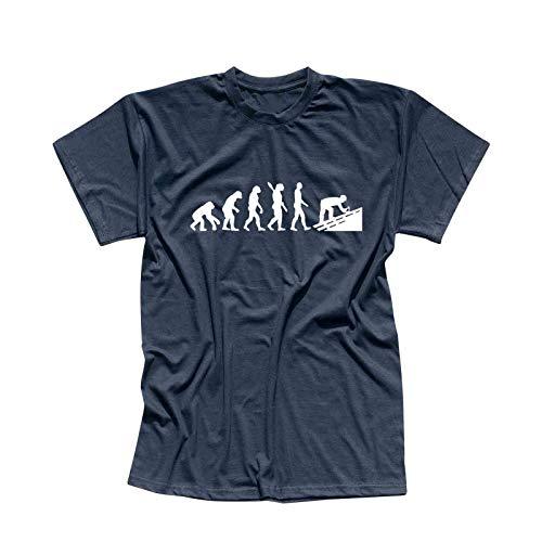T-Shirt Evolution Dachdecker Tischler Zimmermann 13 Farben Herren XS - 5XL Geschenk Idee Handwerker Schiefer Schindeln Ziegel Solaranlagen, Größe:XL, Farbe:Navy - Logo Weiss