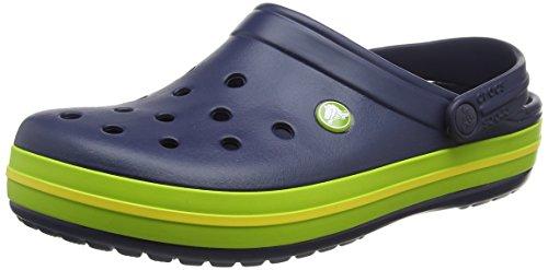 crocs Crocband, Unisex - Erwachsene Clogs, Blau (Navy-Volt Green-Lemon), 38-39 EU