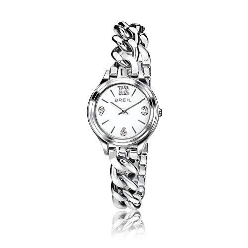 breil - orologio da donna night out - orologio solo tempo con quadrante bianco e swarovski agli indici - cassa in acciaio 32 mm - movimento al quarzo