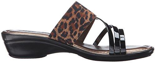 Easy Street Atessa Femmes Toile Sandale Leopard-Black