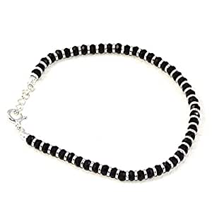 Nemichand Jewels Sterling Silver Nazariya with Black Crystals for Women 92.5% Pure Silver Bracelet for Women