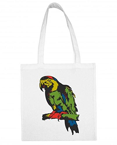 """Jutebeutel \""""Papagei sitzt Vogel Vögel fliegen Kleintier Haustier\"""" Baumwolltasche Einkaufstasche"""