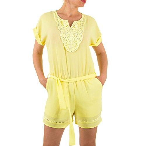 Damen Overall Spitzen Bluse Jumpsuit Hose Hosenanzug Strampler Shorts Gelb 40