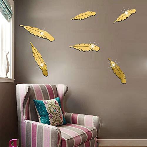 Yazidan Umweltfreundlicher Kristall PS Wandspiegel mit Federn 6 Teile/Satz Feder Acryl 3D Spiegel Wandaufkleber Wandtattoo Removable Home Decor