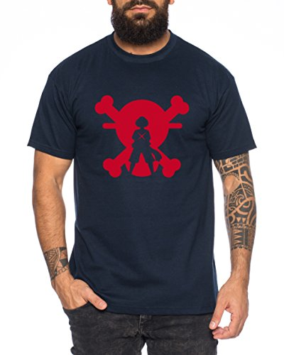XR Ruffy One Monkey Anime Piece Camiseta de Hombre, Colour:Dunkelblau;