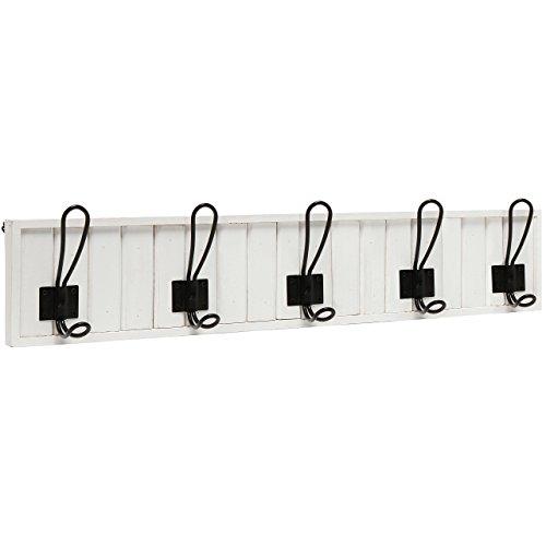 Deko Wand montiert Weiß Holz & 5schwarz Metall Dual Coat Haken Diele Rack/Badezimmer Handtuchhalter (Coat-rack Storage)
