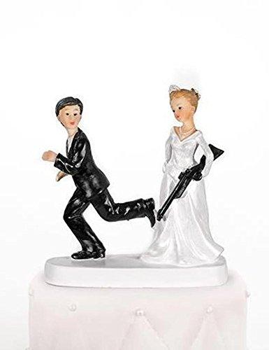 Cake Topper torta nuziale decorazione Sposa con fucile Altezza 13cm