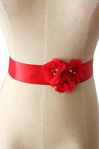 Lemandy Tres artesanal cinturón de seda de la flor (Rojo)