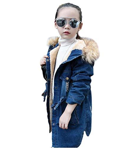 Brinny Sherpa Trucker Denim Jeansjacke Wintermantel Winterjacke Warme Kinder Mädchen Trenchcoat Jacke Jeans Gefüttert Teddyfell Fellkragen