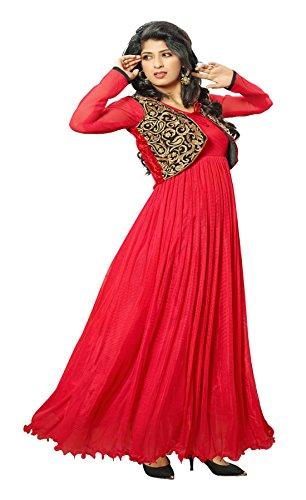 Blissta Red partywear Long Net Gown Dress material