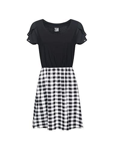 Pussy Deluxe Vichy Fantasy Dress Mittellanges Kleid schwarz/weiß XXL