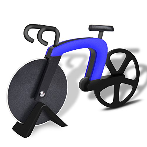 Bicycle Shape Pizza Cutter / Slicer , Stainless Steel Bike Pizza Cutter Wheels, Kitchen & Dinning Cutter Tool / Gift - Blue
