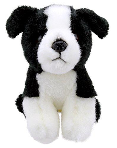 Lashuma Stofftier Hündchen Border Collie 15 cm, Kuscheltier Welpe Schwarz Weiß, Flauschiger Plüschtier Hund Sitzend -