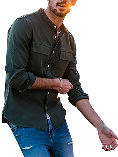 Karlywindow Herren Langarm Casual Buttons Down T-Shirt Double Pockets Slim Fit - Grün - X-Groß