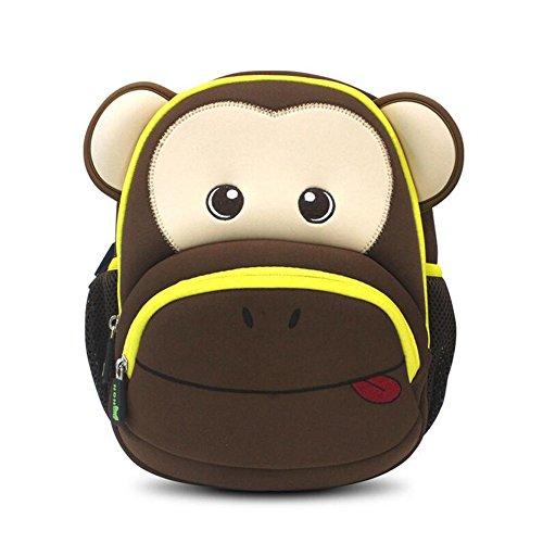 Hanaya Kinderrucksack, Kinder Rucksack, Mädchen Jungen Kindergarten Schulrucksäck, Wanderrucksäck, Reiserucksack, Backpack, Tasche, Affe, Braun