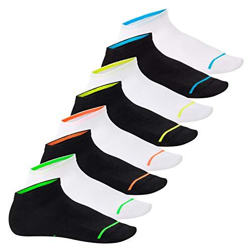 Footstar 8 Paar Sneaker Socken Neon Glow - schwarz weiß mix -35-38