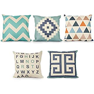 Topfinel Oblong Cushion Cover Sofa Throw Pillow case for Bedroom Car with Invisible Zipper 18x18 Inch Set of 5
