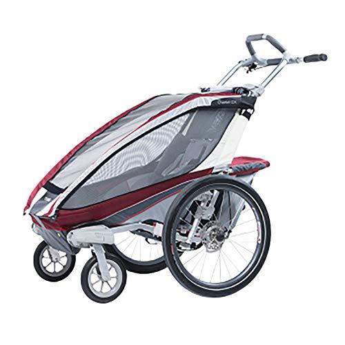 Yamyannie-Sports Ingle Sitz hochklappbar Tow Behind Fahrradanhänger, Mit 2-in-1 Baldachin und 16-Zoll-Räder for Kinder und Kinder (Farbe : Rot, Größe : Free Size) -