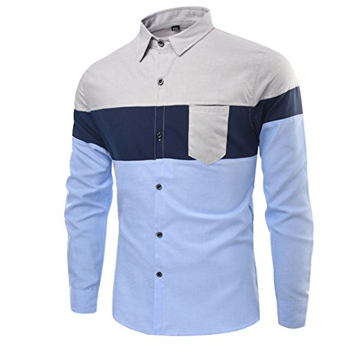 Honghu Homme Casual Chemise Manches Longues Slim Fit Gris