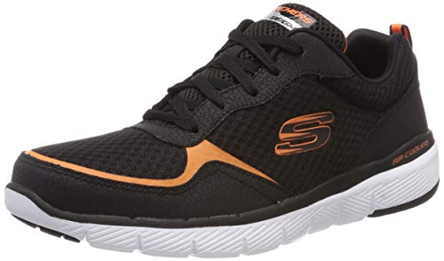 Skechers Herren Flex Advantage 3.0 Sneaker, Schwarz (Black Orange Bkor), 47.5 EU Diamond Sneaker